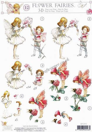 Flower Fairy 12 The Red Clover & Dianthus Flower Fairy by Cicely Mary Barker 3d Decoupage Sheet